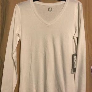 White LS, v-neck, 100% cotton T-Shirt